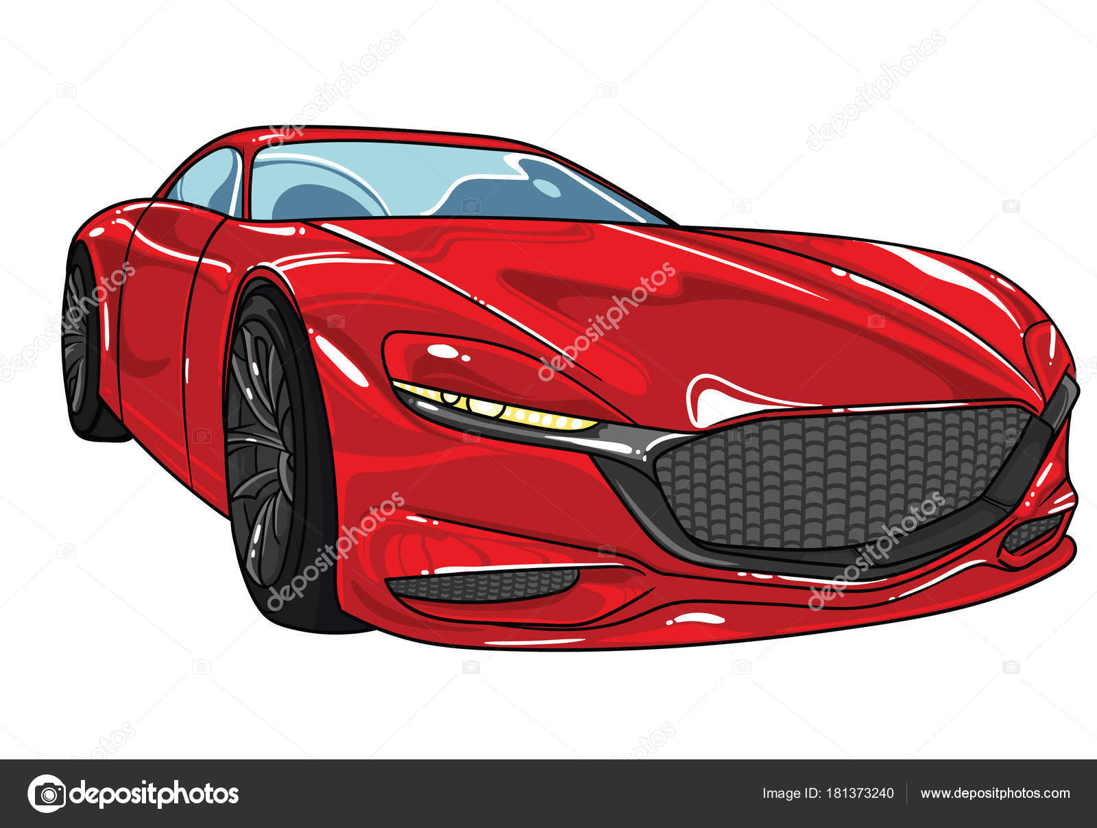 Red Sport Car Mazda Vector Editable Illustration . Separate On White  Background . Different Super Cars