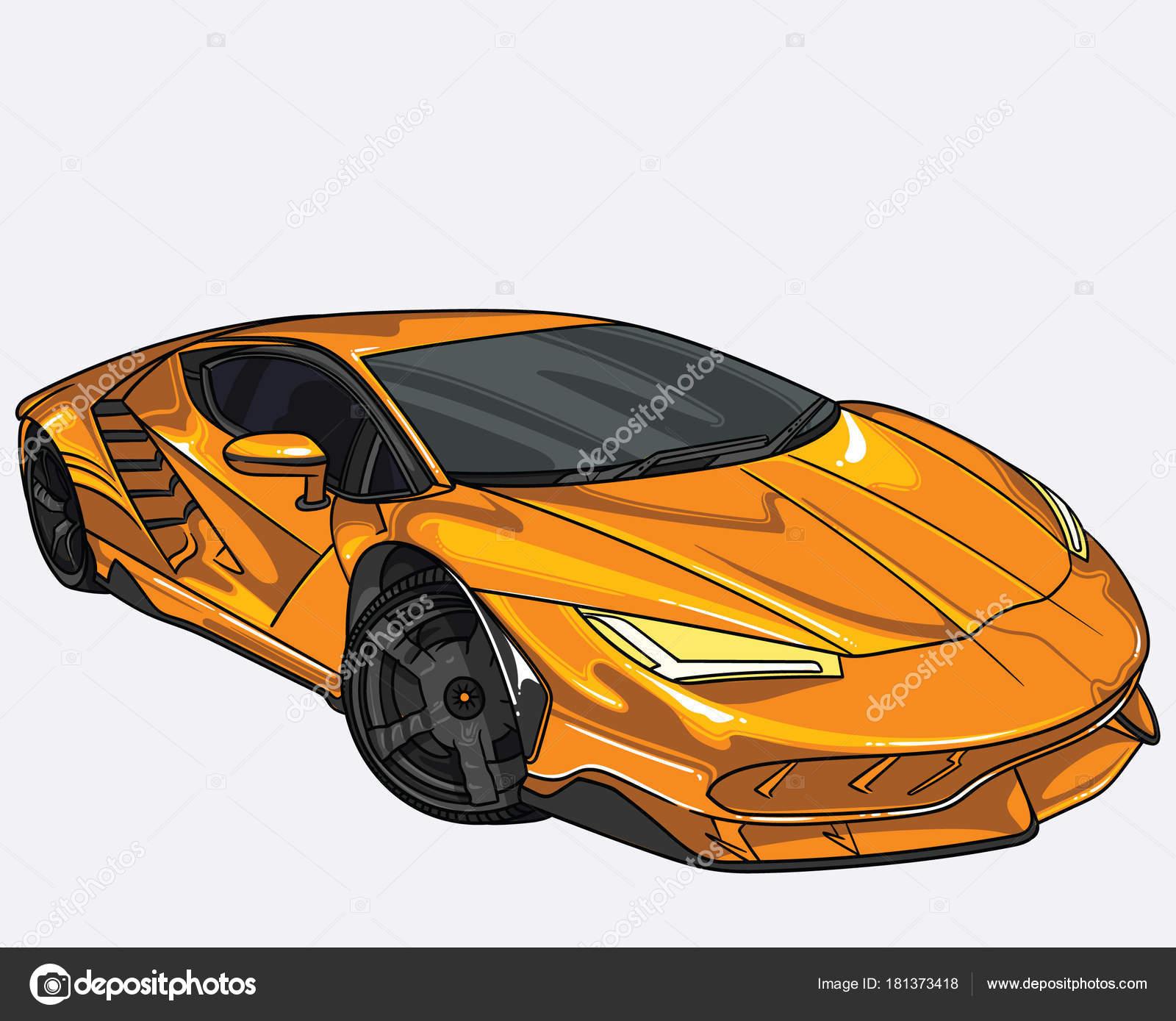 Vector Illustration Of Lamborghini Car Separate On White Background