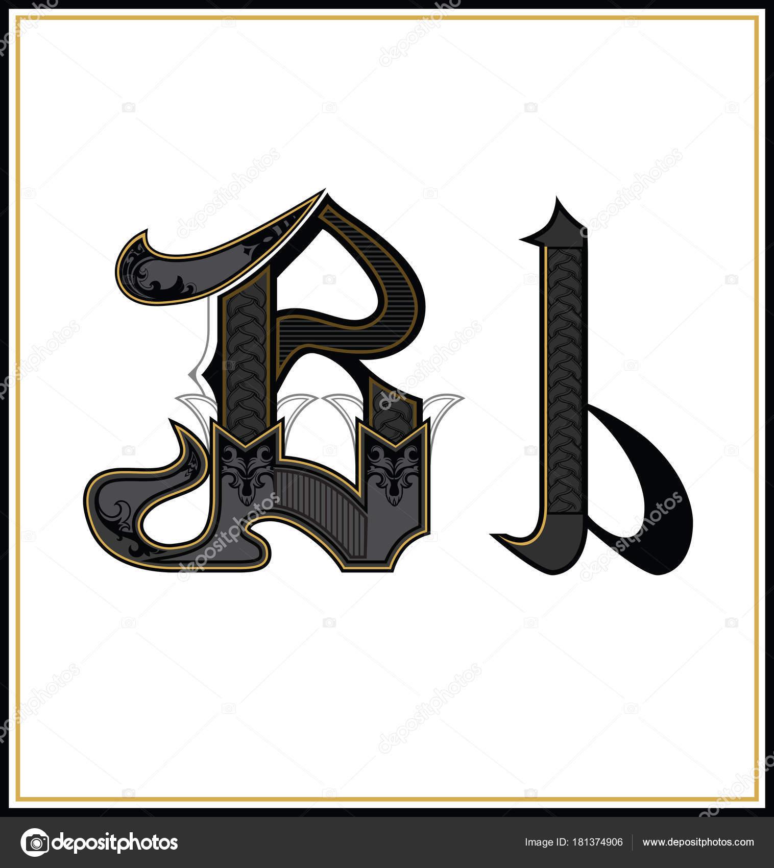 Gothic Font Letter B Vintage Design Text Symbol Antique Calligraphy Old Lettering Retro