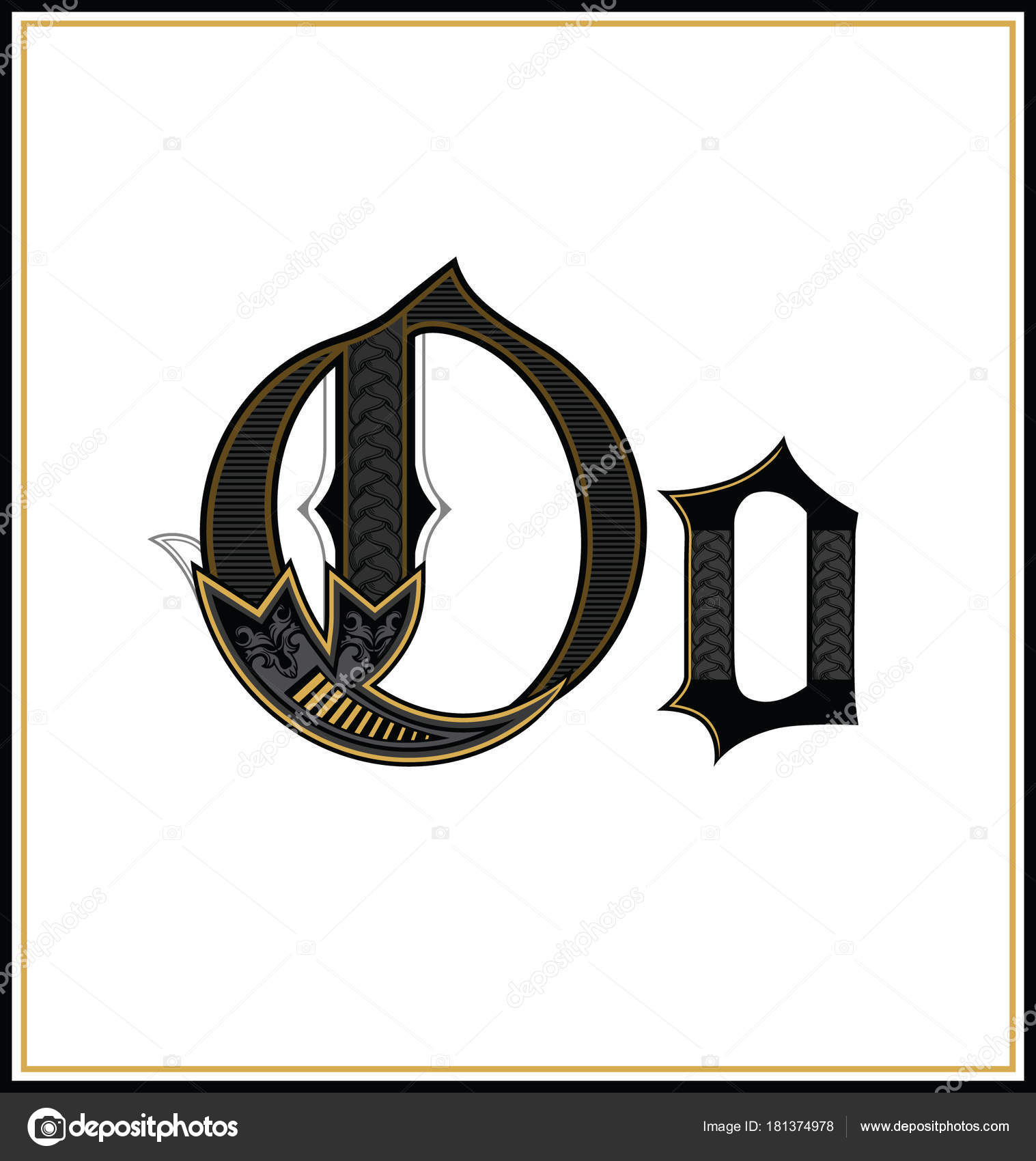 Gothic Font Letter O Vintage Design Text Symbol Antique Calligraphy Old Lettering Retro