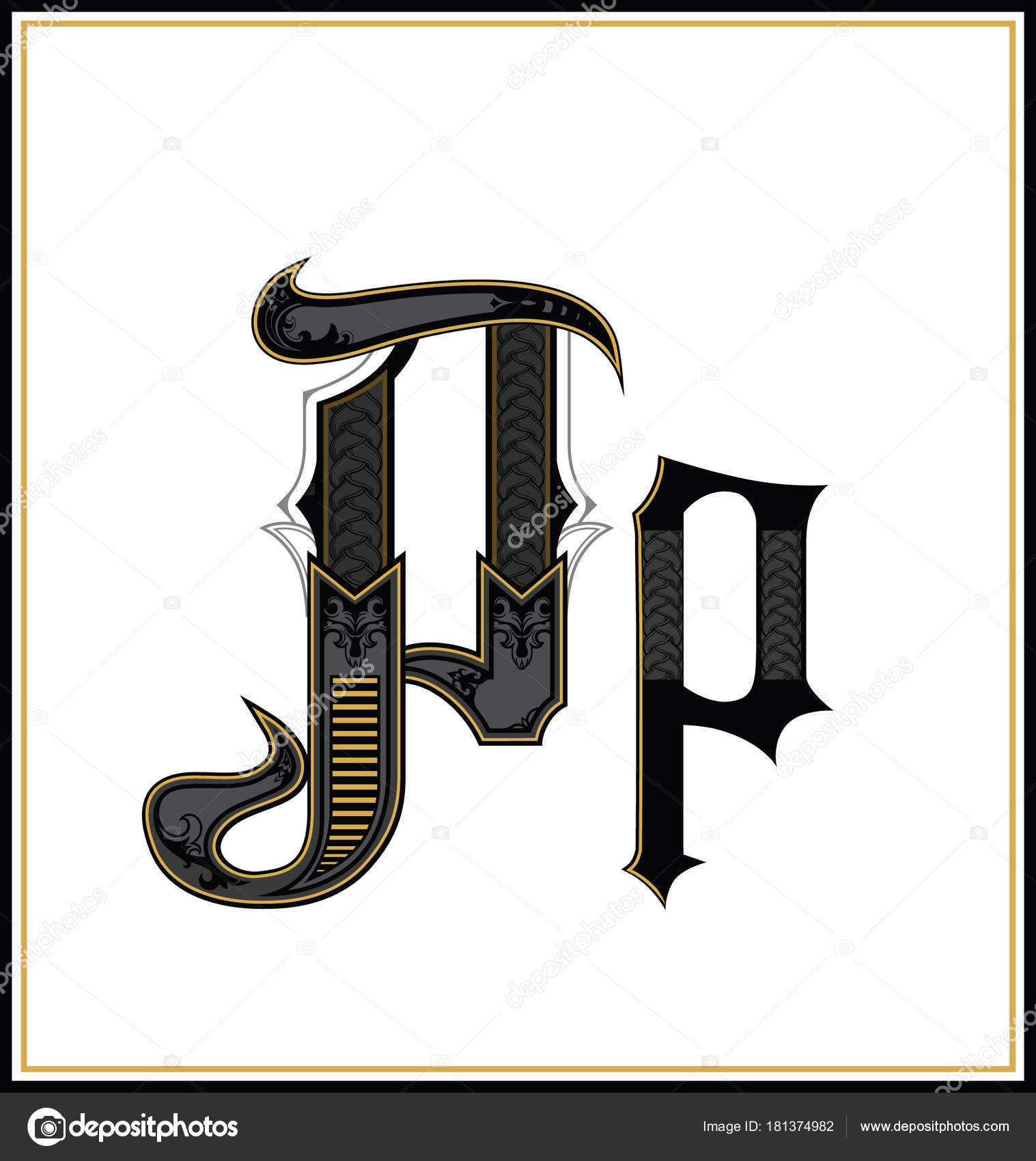 gothic font letter p . vintage design font. text symbol antique