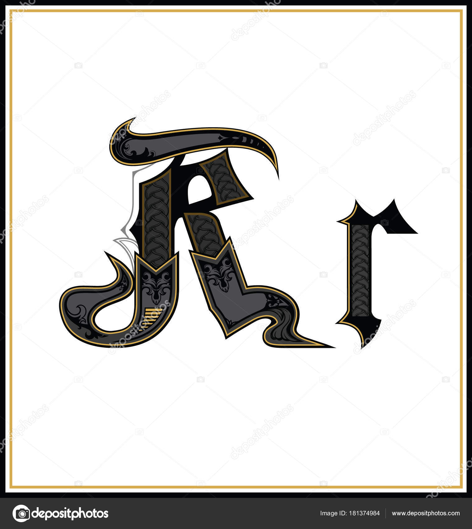 Gothic Font Letter R Vintage Design Font Text Symbol Antique