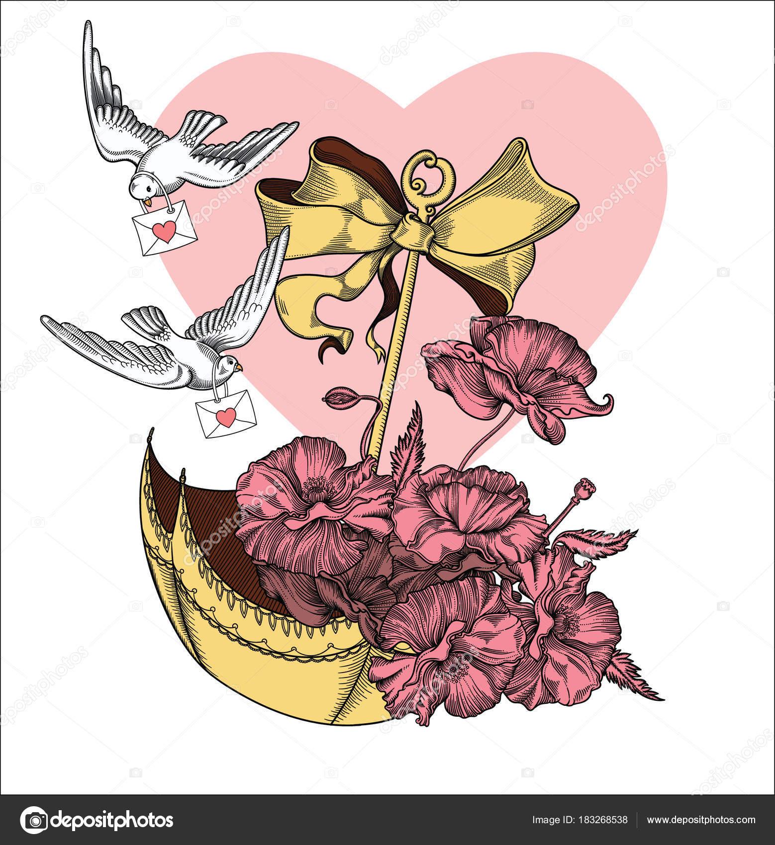 Valentines Day Vintage Card Illustrationolated On White