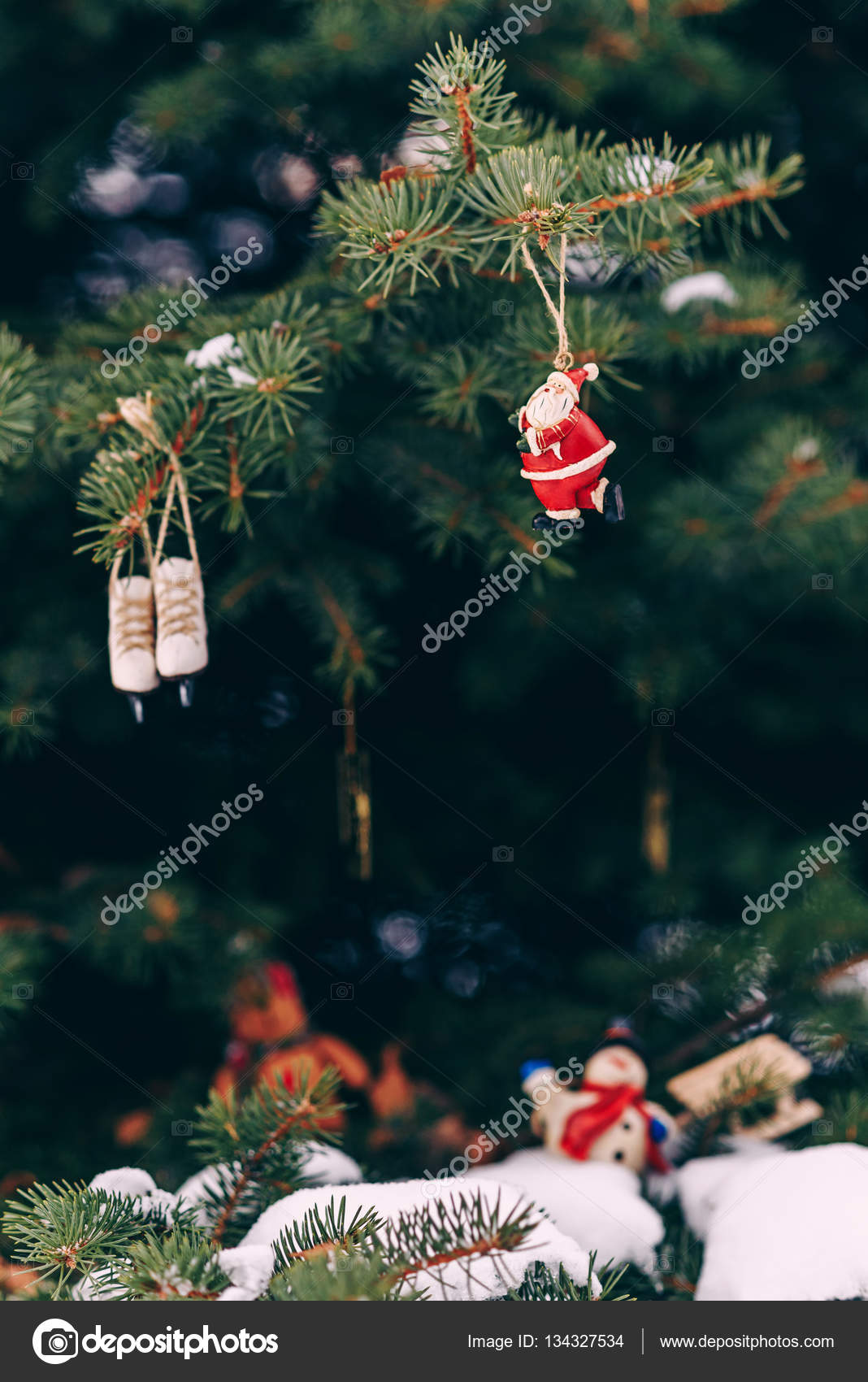 Closeup Christmas Tree Decoration Handmade Miniature Santa Small Snowman With Wooden Sled And Ice Skates On The Branch Stock Photo Image By C Gorynvolodymyr 134327534