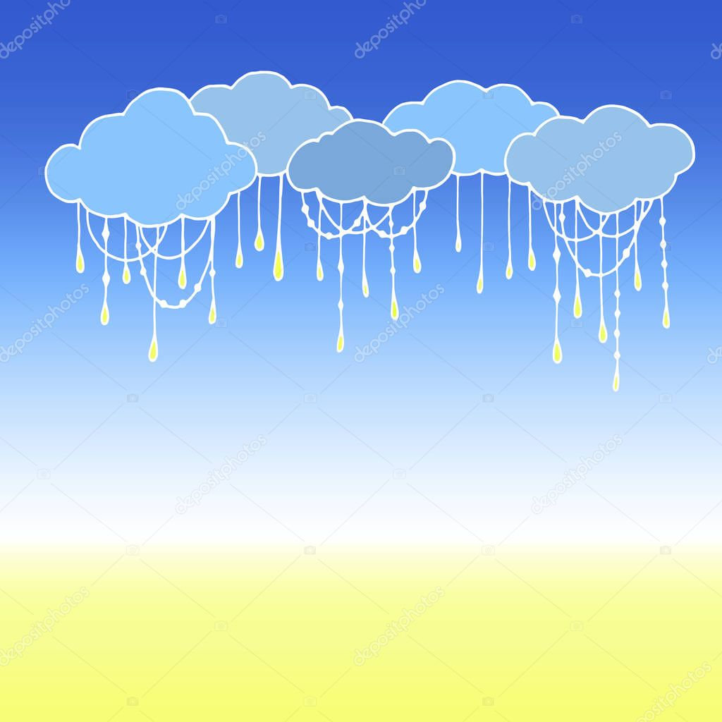 Doodle Vector Clouds. Abstract Cloud Background.