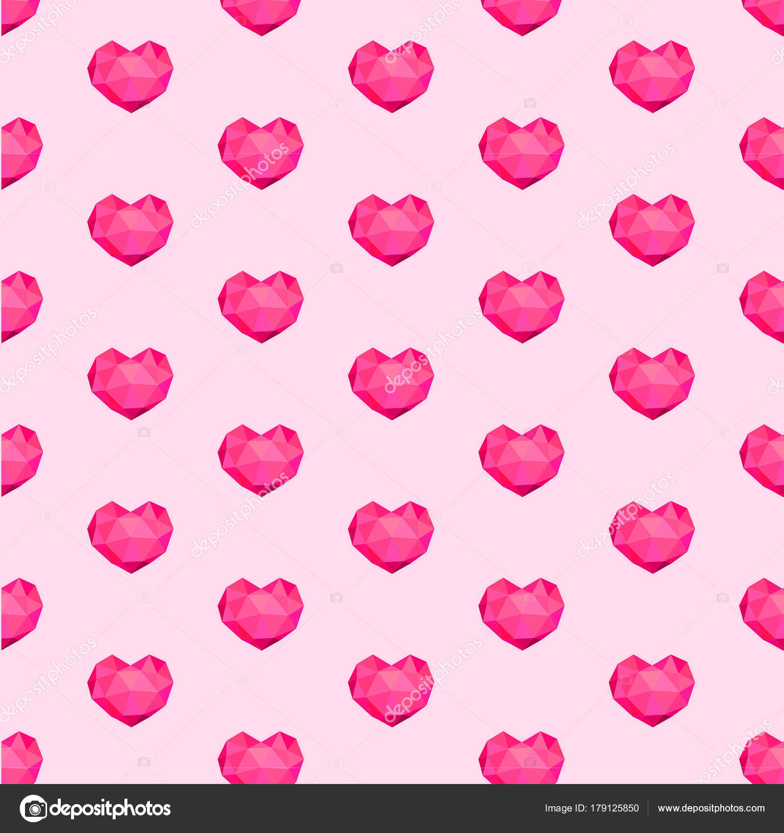 Vector Seamless Pattern With Geometric Hearts Polygonal Diamond For Fabric Textile Wrapping Paper Wallpaper Backdrop