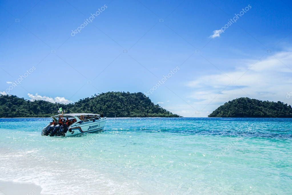 editorial Baramee speedboat at Tarutao island taken in Satun Thailand on 7 April 2017