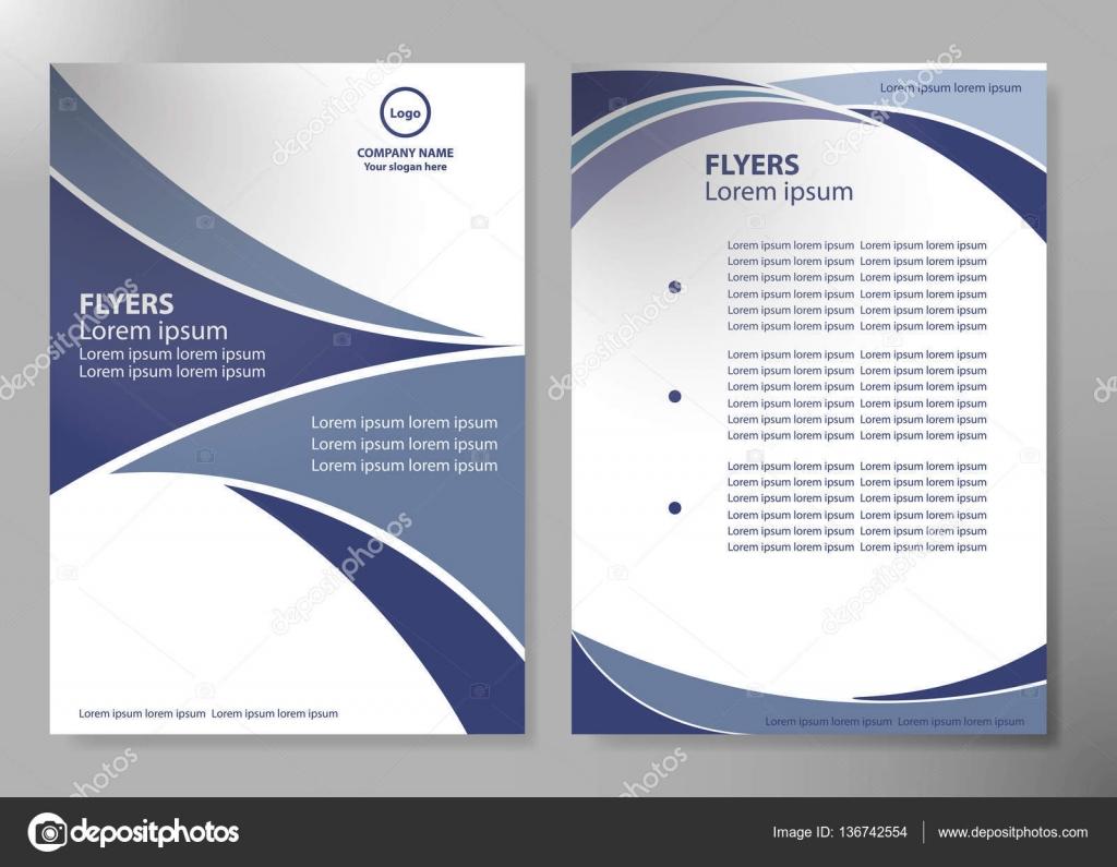 Broschüre Design Vorlage Vektor. Blaue abstrakte Linie und ...