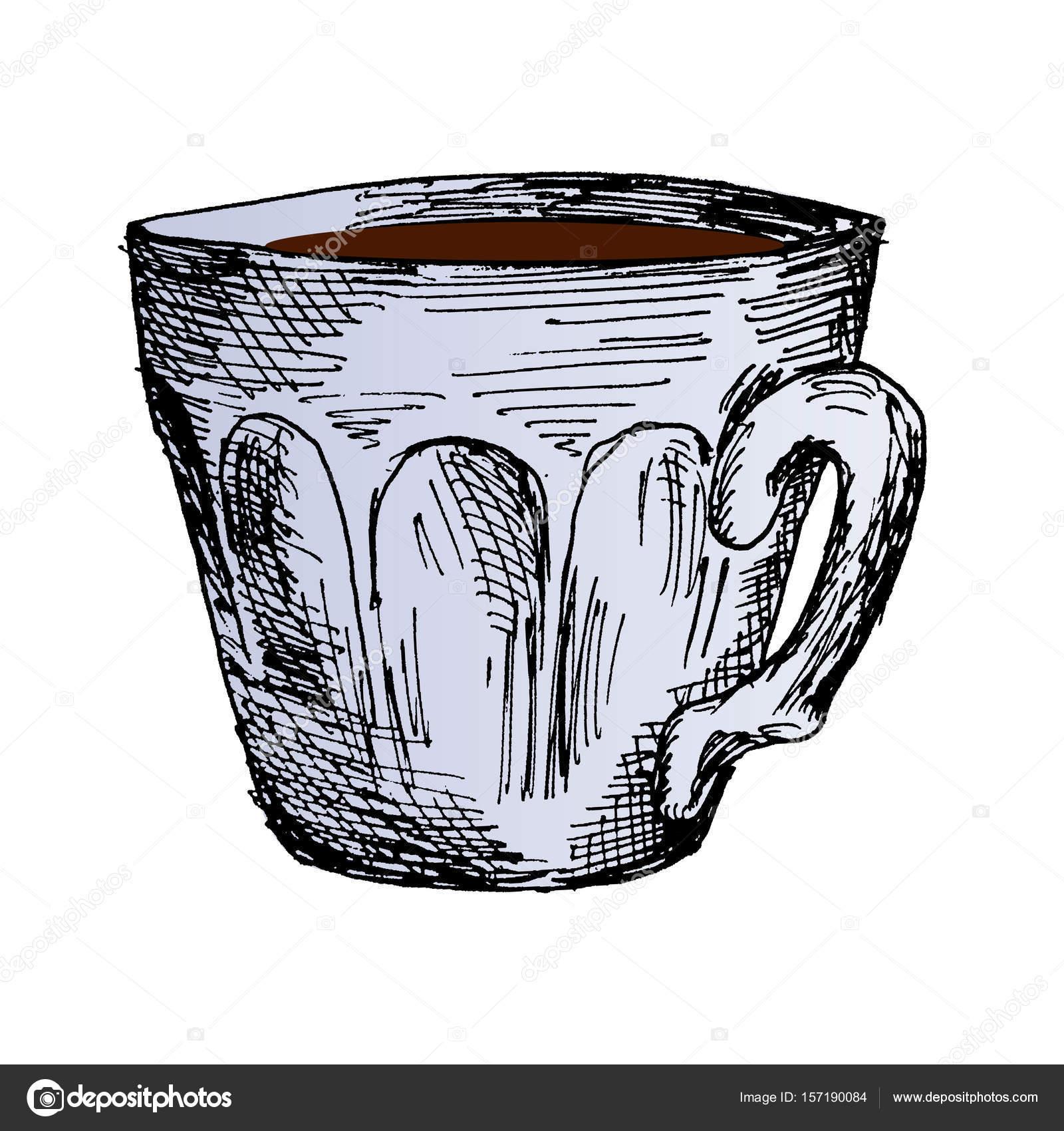 Kaffeetasse Heißer Kaffee Am Morgen Hand Gezeichnet Skizze Vektor