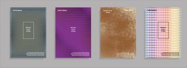 Minimal covers design. Geometric halftone gradients. Eps10 vector.