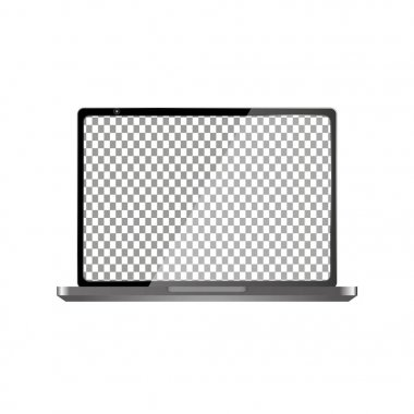 Realistic Laptop with Transparent Wallpaper Screen Isolated. Easily Editable Vector.