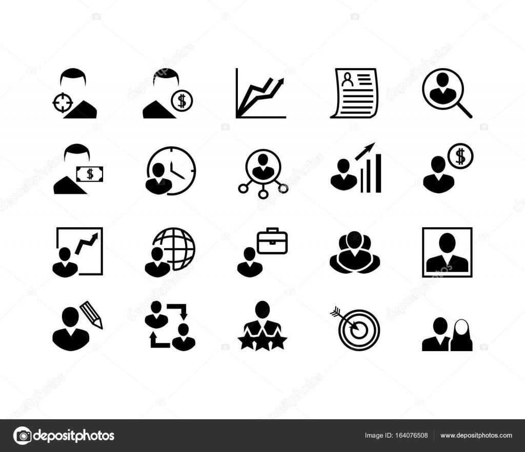simple set of head hunting related vector line icons
