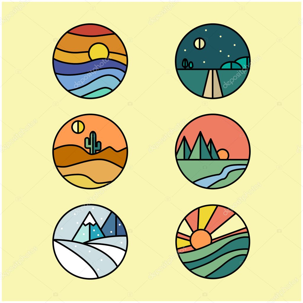 Set of six landscape logos