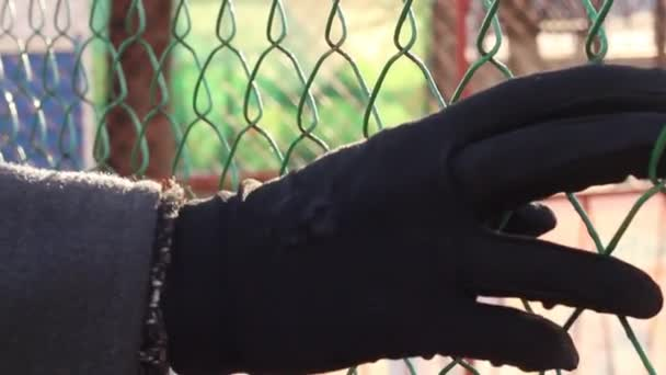 Překážky v cestě. Kovové mřížky blokuje cestu. Ona vede ruku přes plot. Ona chodí podél plotu.