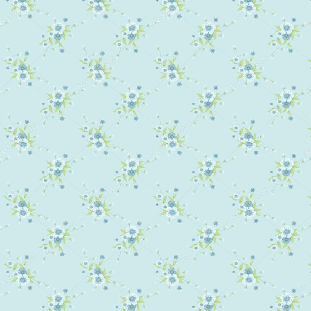 Classic Vintage Blue Flower Pattern In Blue Backgroundctor
