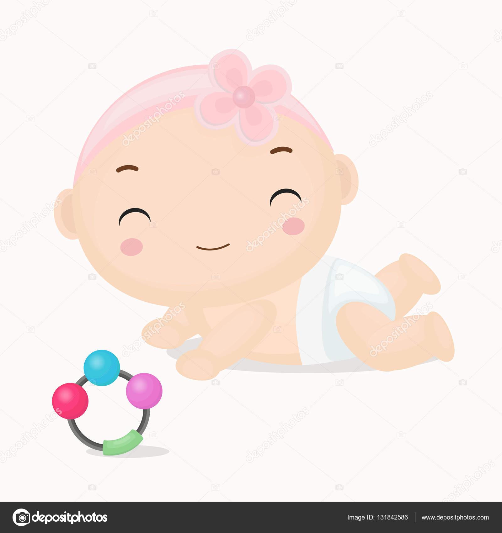 dessin anim mignon b b fille avec bandeaux rose dessin anim image vectorielle desyaghadhia. Black Bedroom Furniture Sets. Home Design Ideas