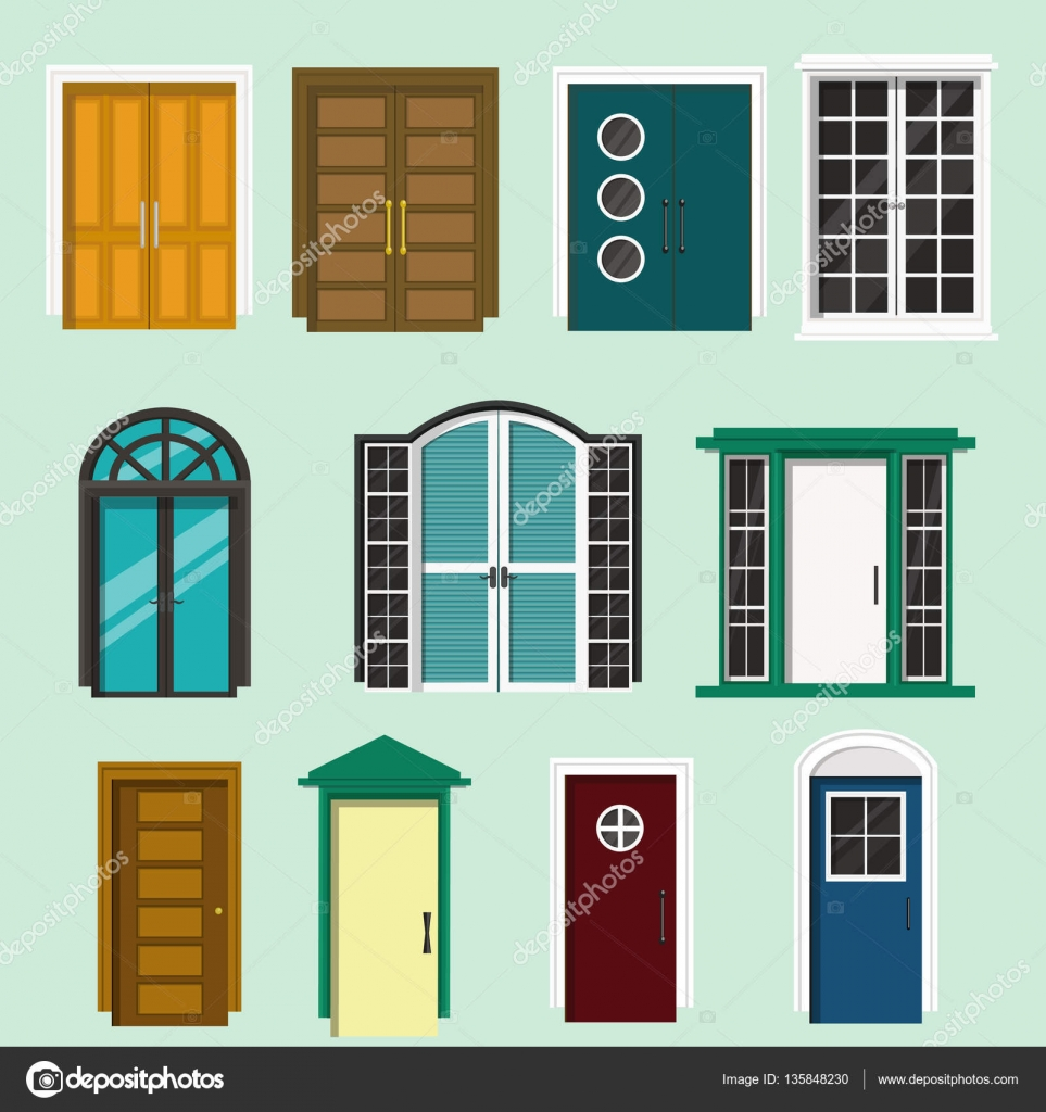 Various Front Door Design For Houses And Building.Set Of Colorful Isolated  Doors.Flat Style Vector Illustrator U2014 Vector By Desyaghadhia.gmail.com