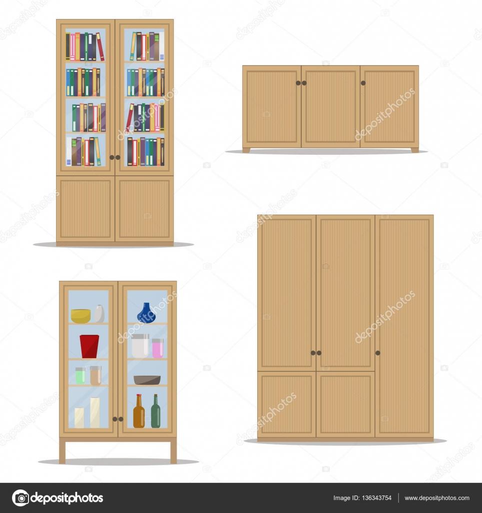 klassieke houten interieur instellen met gesoleerde kast boekenkast kledingkast en kabinet stockvector