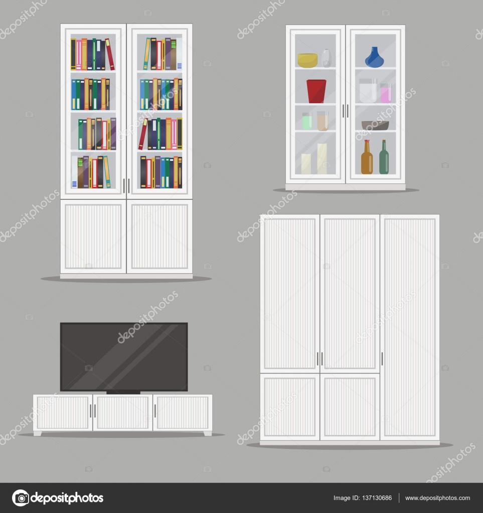 verzameling van gesoleerde boekenkast tv kast en kledingkast meubilair stockvector