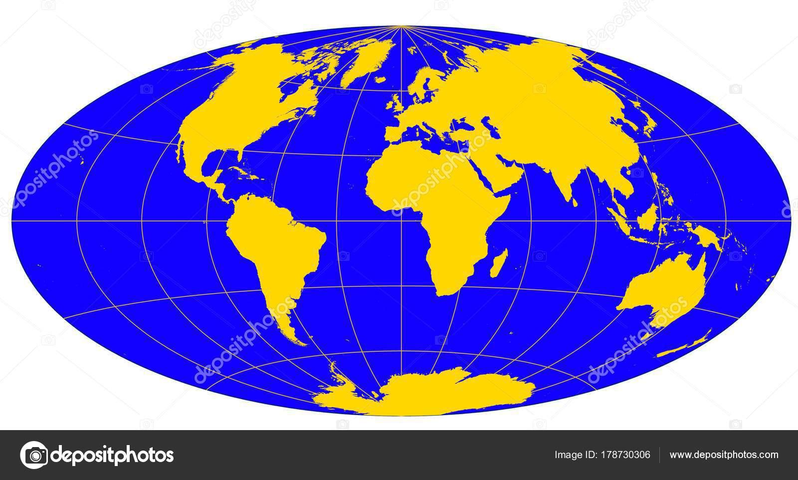 Cartina Del Mondo Con Meridiani E Paralleli.Mondo Dorato Diverse Proiezioni Cartografiche Gradi Griglia