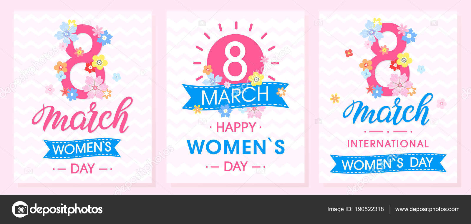 Set Women Day Creative Cards Ribbons Different Flowers Seasons