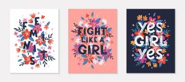 """Картина, постер, плакат, фотообои """"набор девчачьих векторных иллюстраций; стильный шрифт для футболок; плакаты; открытки и гравюры с цветами и цветочными элементами. ."""", артикул 349614334"""