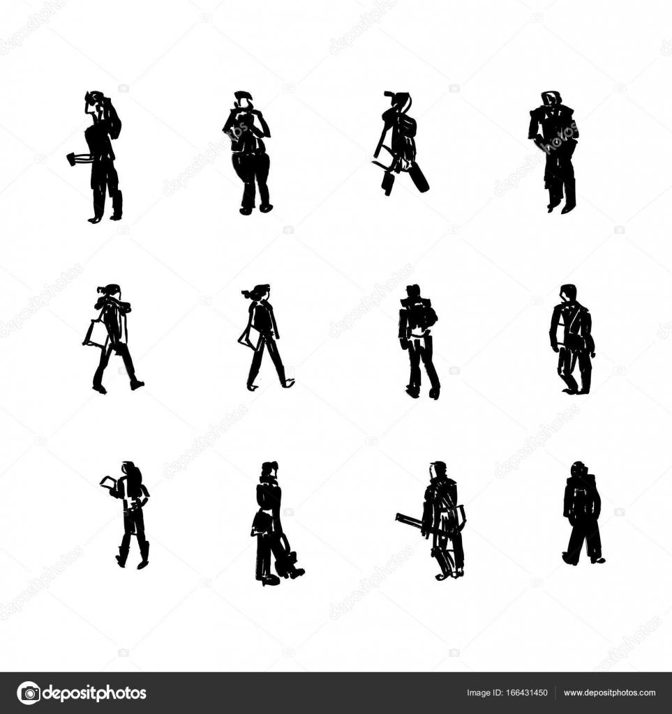 立っている人の黒いシルエット ベクトル イラスト ストックベクター