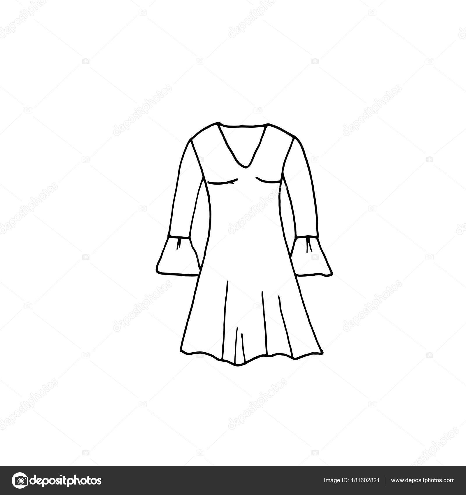 Ilustração De Roupas Desenho De Linha Do Vestido Vetor De