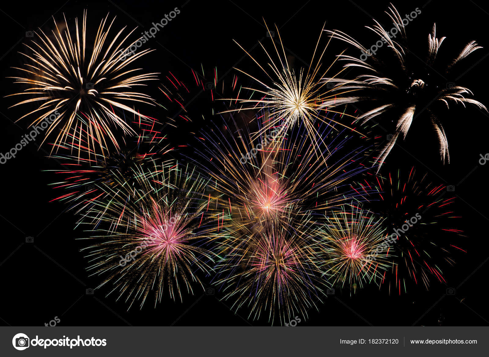 fireworks celebration night new year copy space abstract holiday background stock photo
