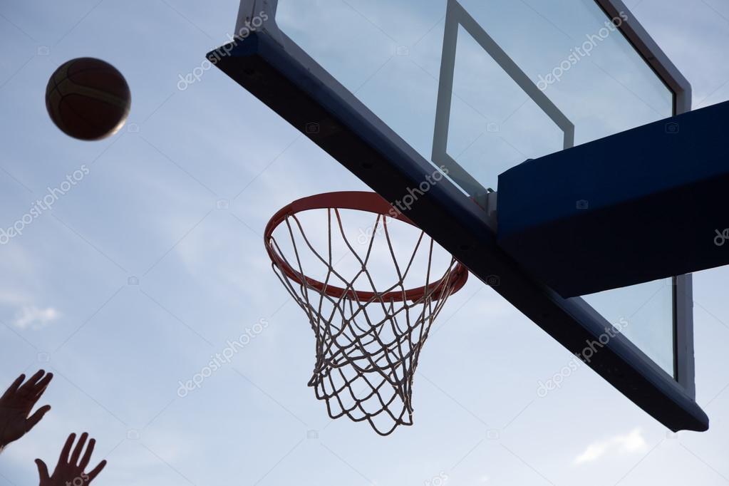 basketball going through the basket stock photo fs stock 127374954