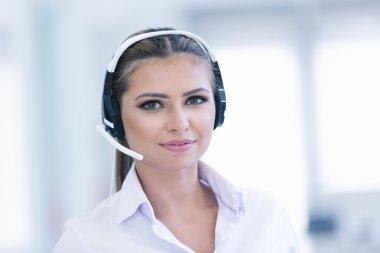female operator with headphones