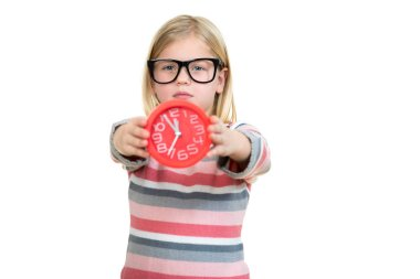 Girl wearing glasses with clock