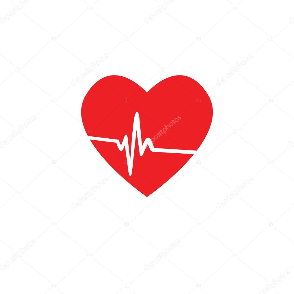 heart rate pulse icon medical vector illustration white background rh depositphotos com Medical Heart Drawing Medical Heart Cartoon