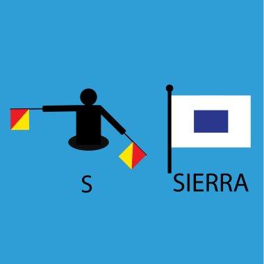 International marine signal flag, sea alphabet , vector illustration, semaphore, communication, sierra.