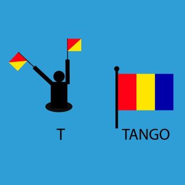 International marine signal flag, sea alphabet , vector illustration, semaphore, communication, tango.