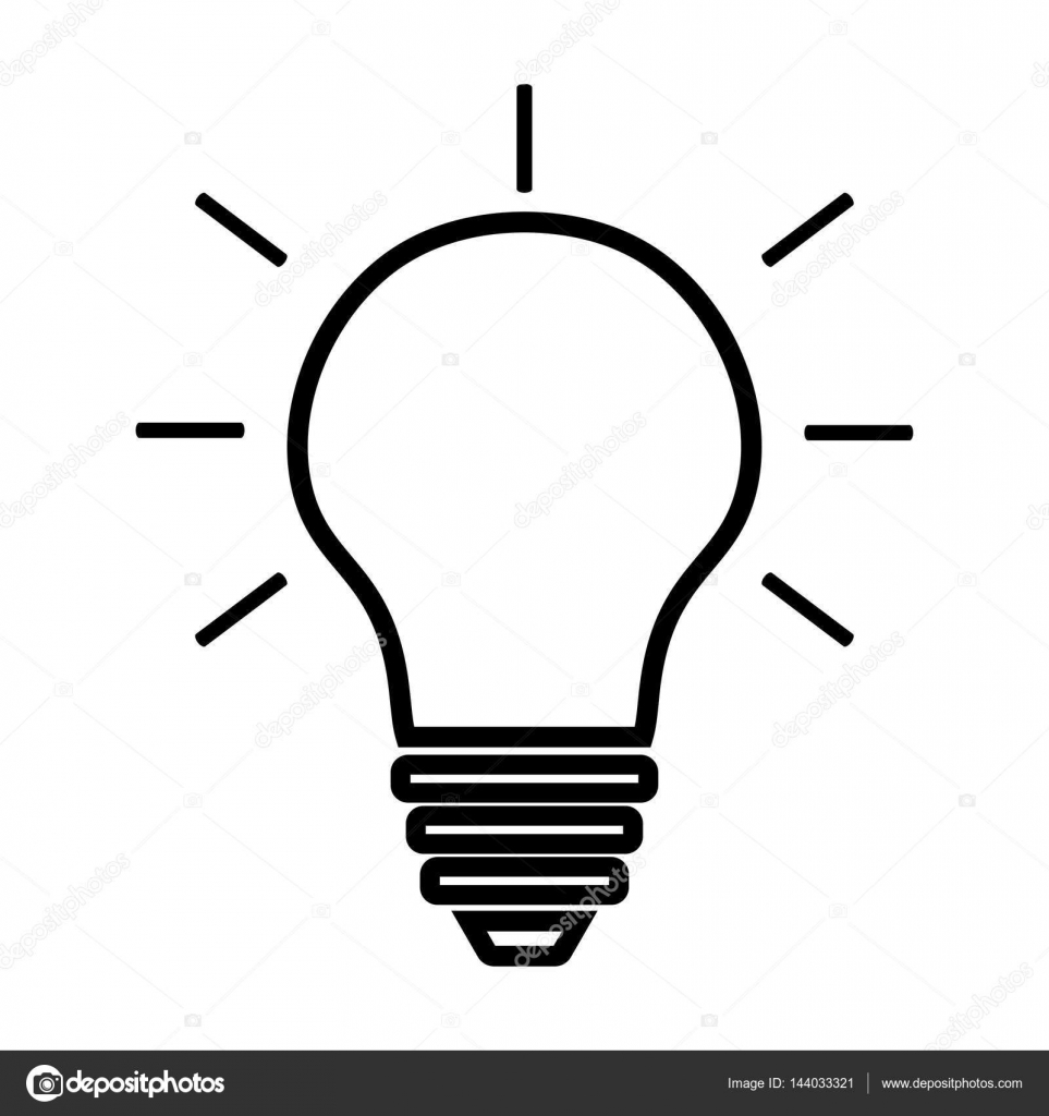 icon lighting. Light Bulb Line Icon Vector Isolated On White Background. Idea Sign, Solution, Thinking Lighting