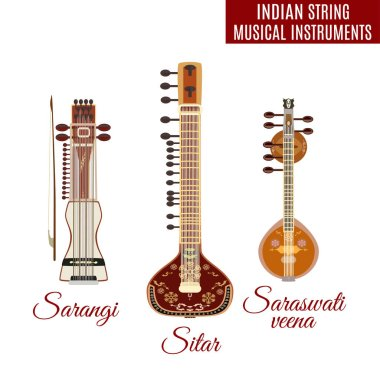 Vector set of indian bowed and plucked string musical instruments, flat style.