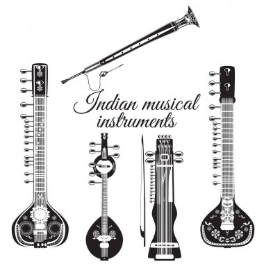 Vector set of indian musical instruments, flat style.