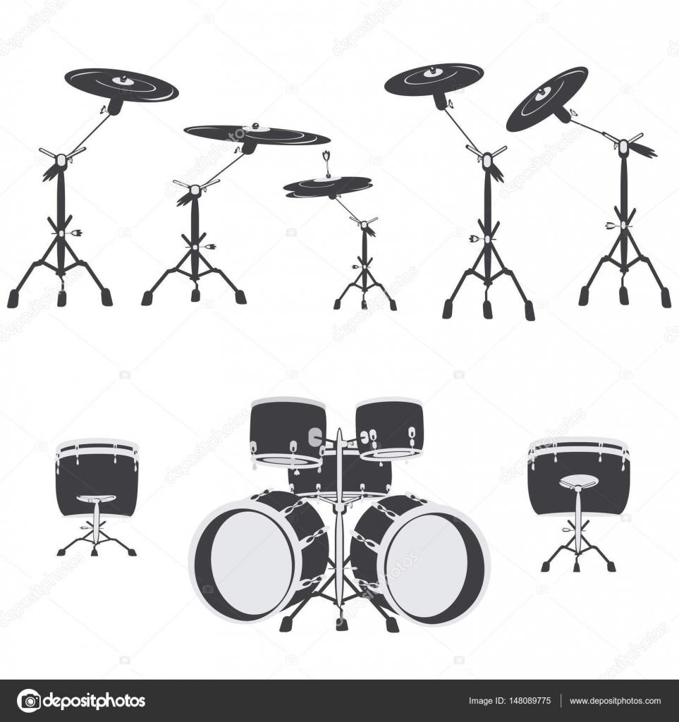 Zwart-wit Drum set, vector — Stockvector © svitlana.varfolomieieva ...