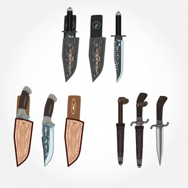 Vector set of hunting knives and leather sheath, flat style design.