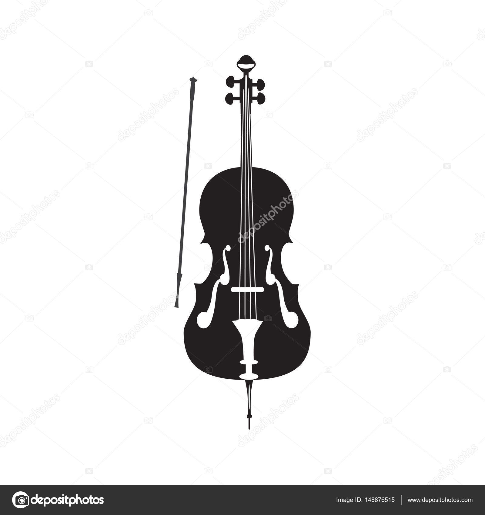 Vector Illustration Of Cello In Flat Style Stock