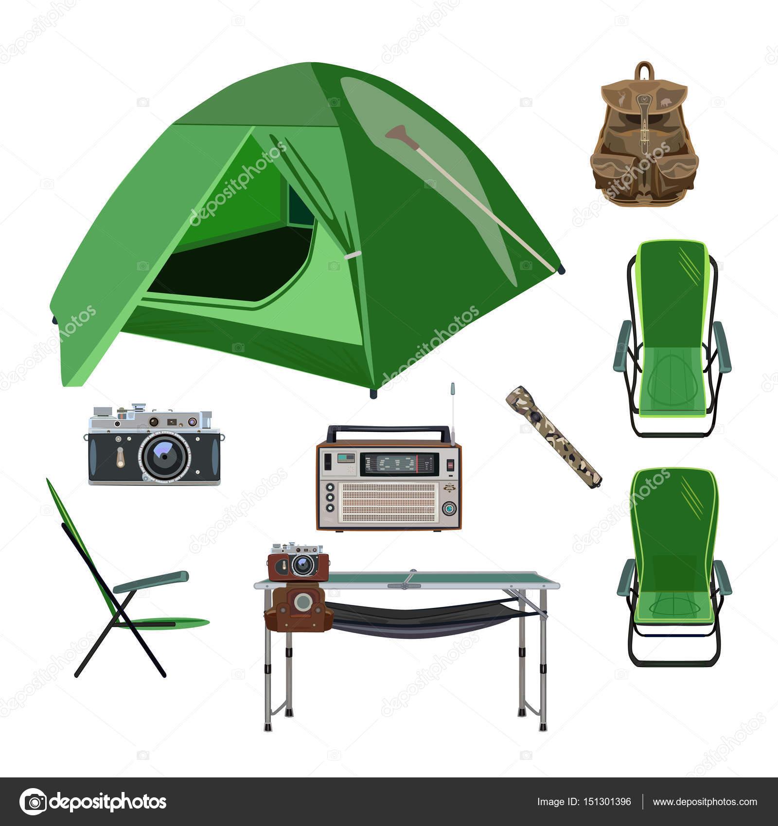 92847fa711e151 Vektor-set camping Ausrüstung-Symbole im flachen Stil — Stockvektor ...