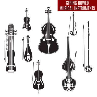 Vector set of black and white string bowed musical instruments in flat design