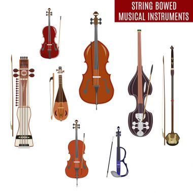 Vector set of string bowed musical instruments isolated on white background