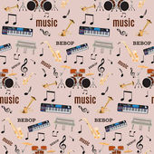 Photo Vector seamless pattern with bebop jazz music instruments