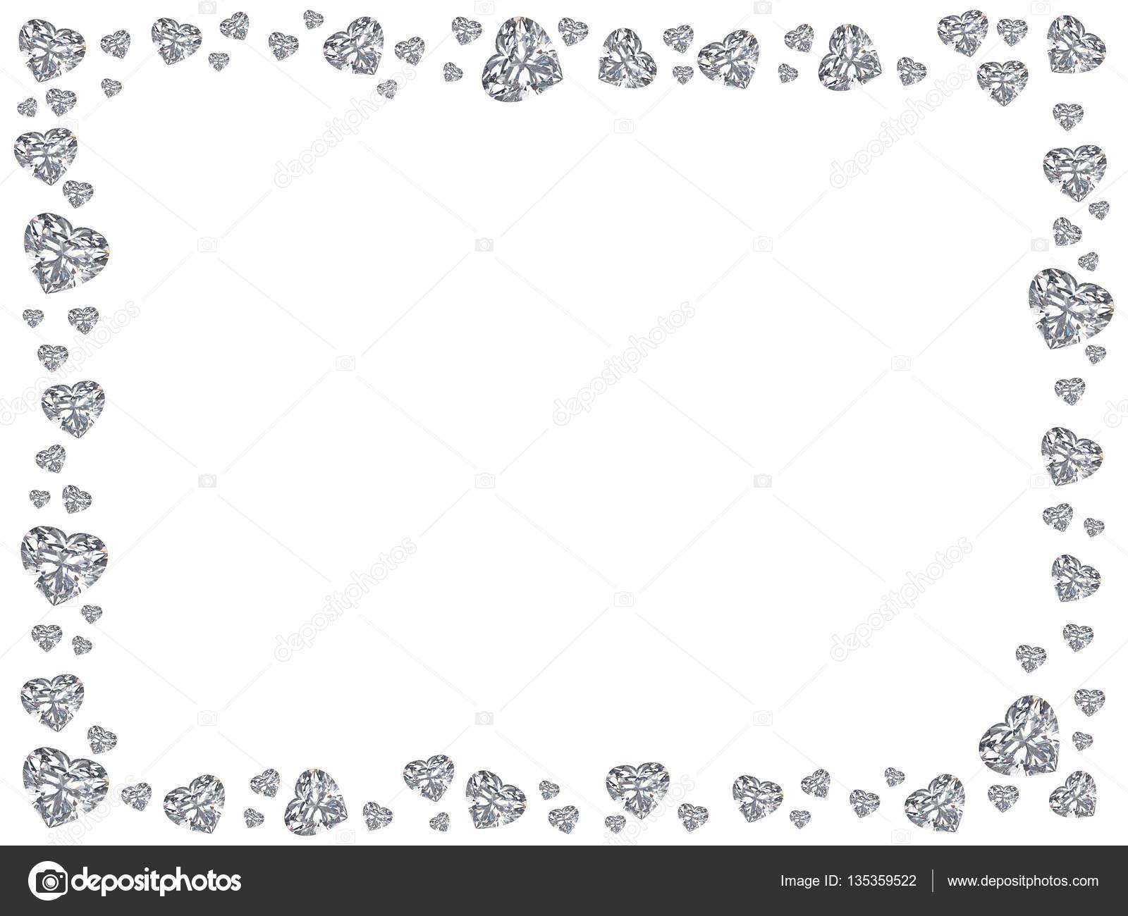 Ilustración 3D grupo de marco de rectángulo corazones de diamantes ...