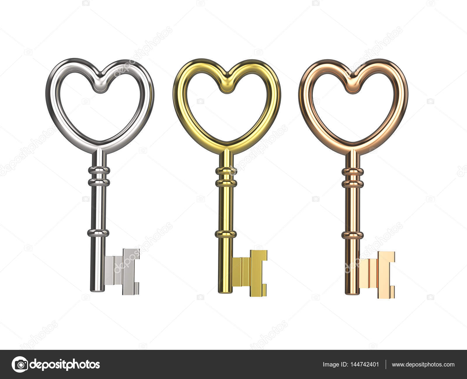 3d illustration three keys silver gold copper stock photo 3d illustration three keys silver gold copper on white background photo by 3djewelry buycottarizona Image collections