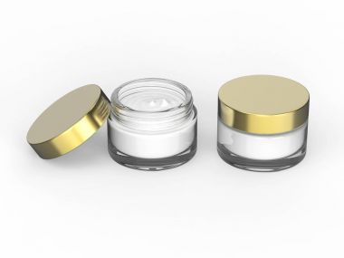 3D illustration two glass cosmetic container for cream