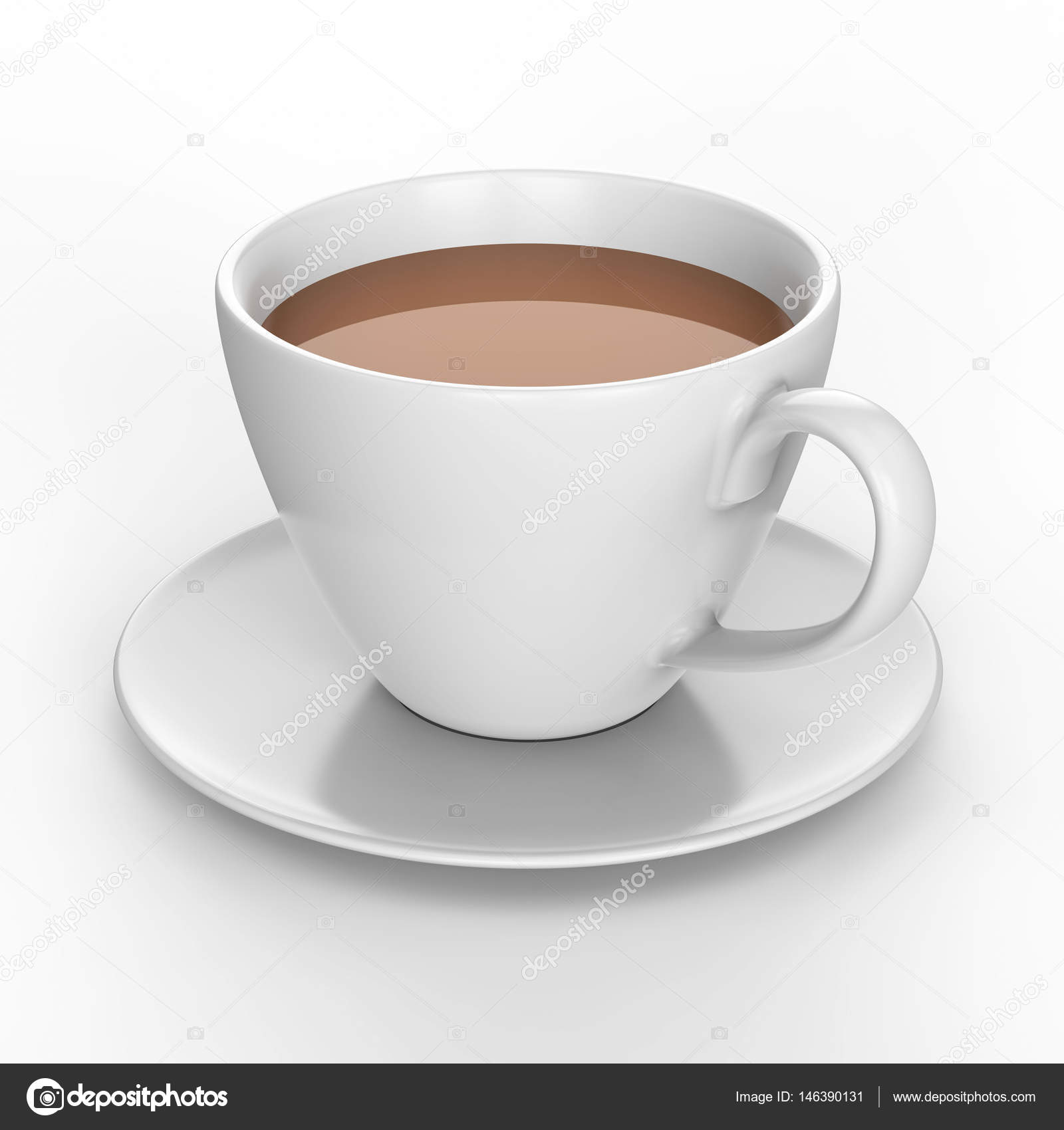 3d Illustration White Cup And Saucer With Tea Coffee Stock Photo Image By C 3djewelry 146390131