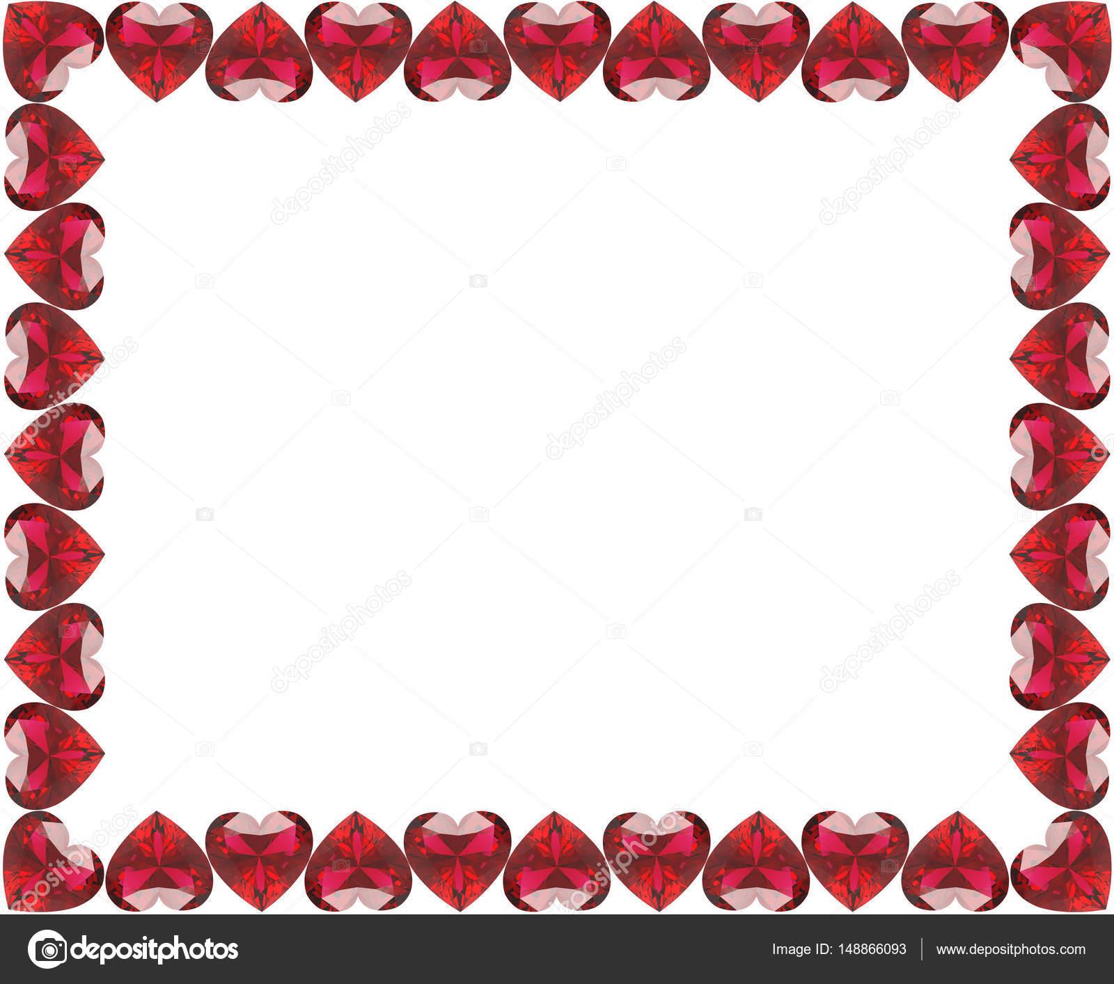 Grupo de Ilustración 3D de rojo diamantes marco corazones — Foto de ...
